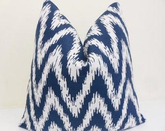 Ikat Navy White Chevron Pillow Cover - Toss pillow- Throw Pillow - Accent Pillow Decorative Pillow - Euro Sham