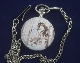 Wolves • Milan Quartz Pocket Watch • Free Shipping!  Working and Ready for You