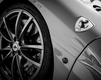 Ferrari F430, Photography, fine art Photography, Black and white, wall art, home décor, car photography, vintage, auto, gift, print