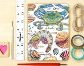 Shellfish notebook, personalized, seafood illustration, blank, ocean, beach, Summertime.