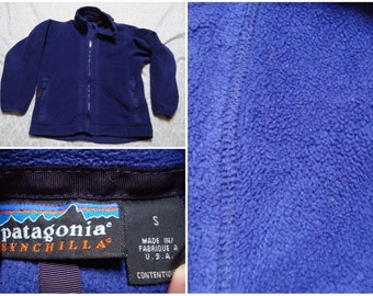 Vintage Retro Men's 90's Patagonia Fleece Synchilla Purple Zip-up Side Pockets Fleece Jacket Small Rare Women's Large Made in the USA