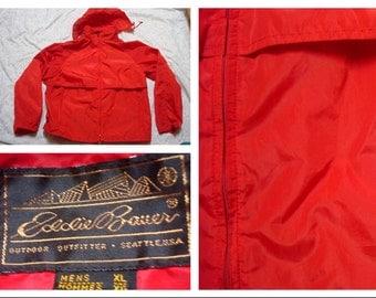 Vintage Retro Men's Eddie Bauer Jacket Red Hooded Full-zip Windbreaker Rain Jacket XL