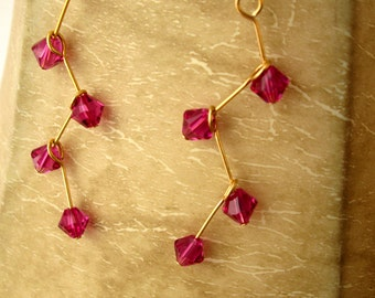 Swarovski earrings, fuchsia swarovski crystal, 14k gold fill wire, swarovski jewelry, crystal drop earrings,