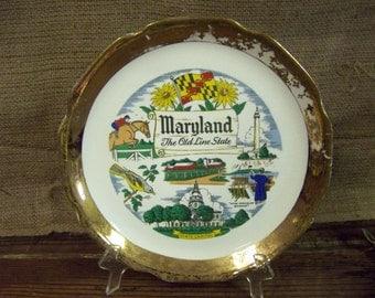 Maryland Souvenir Plate Vintage Souvenir Plate Maryland State Plate