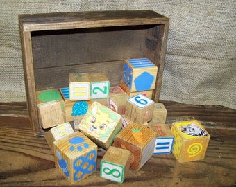 Wooden Blocks Assorted Wood Blocks in Wood Box