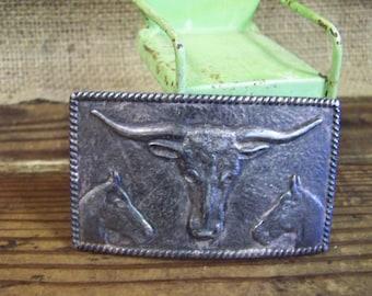 Silver Cow Head Belt Buckle Silver Belt Buckle