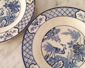 Blue White Plates, Chinoiserie Plates, Vintage Oriental Plate, Yuan Plates, Wood and Sons,  English Porcelain