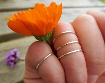 Sterling Silver, Knuckle Rings, Set of Three, Delicate, Dainty, Natural, Hand made, hammered, forged, sparkle, gift