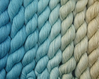 Hand dyed sock weight yarn 50/50% superwash merino wool and silk -sand, sea, sky