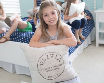 "baby gift, baby pillow, baby shower gift, child's name pillow, personalized pillow, birthday pillow - ""The Olivia"""
