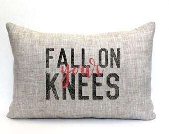 "christmas pillow, christmas decor, santa pillow, christmas pillow, farmhouse christmas - ""fall on your knees"""