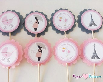 Personalized Paris Baby Shower Cupcake Toppers