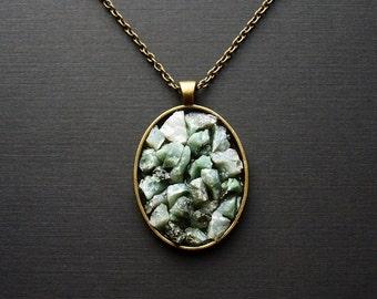 Bronze Emerald Necklace, Raw Emerald  Necklace
