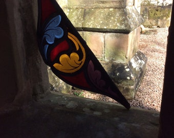 Gothic Revival English Church Glass - Acanthus leaves sun catcher - Authentic English church glass dating from around 1910