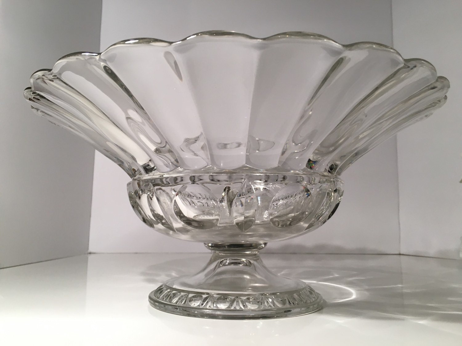 Vintage Clear Glass Bowl Retro Large Centerpiece Fruit Bowl