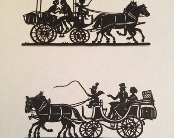 Set of 2 Antique Romantic Carriage SILHOUETTES 1890-1915 Vintage DECOUPAGE Cinderella