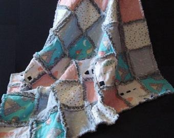 Baby Quilt~Handmade Rag Quilt ~Matching Baby Travel Pillowcase~ Minky Quilt~ Baby Shower Gift