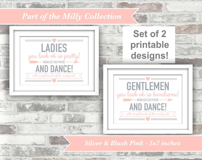 INSTANT DOWNLOAD - Milly Collection - Printable Wedding Bathroom Pamper Station Signs - 5x7 Digital Files - Ladies Gentlemen Gold Blush Pink