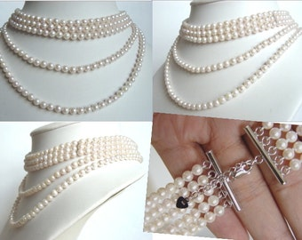 Akoya Pearl Necklace - 5 Strand Pearls - White Cultured Pearls - Bridal Wedding Pearls - Downton Abbey GatbsyJewelry