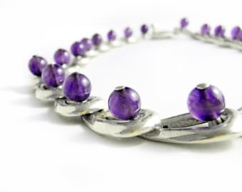 Taxco Sterling Amethyst Necklace - 950 Mexican Silver - Mid Century Taxco Mexico - Flexible Amethyst Links - Vintage Taxco Gemstone