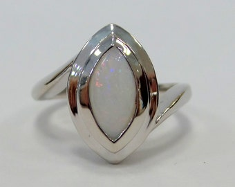 Opal Engagement Ring Sterling Silver/ Sterling Silver Opal Engagement Ring/ Alternative Natural Opal Engagement Ring 1.34ct