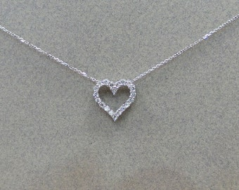 Diamond Heart Necklace 14k White Gold/  White Gold 14k Diamond Heart Necklace TCW 0.75ct SI1 Clarity G Color