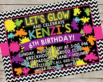 Glow in the Dark Invitation PIY file ~ Glow Birthday Party ~ Glow Printable Digital File
