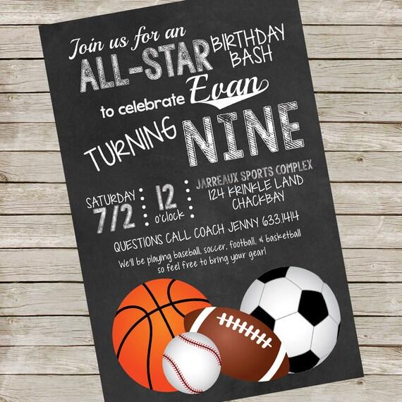 Sports Birthday Party Invitation PIY file ~ Printable ...