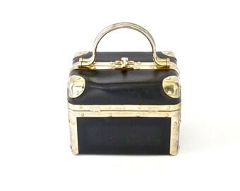 Train Case Vintage DELILL Box Purse Retro Designer Black and Brass Handbag