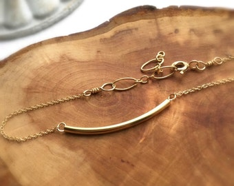gold filled curved tube bracelet
