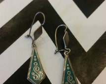 Vintage Mexican Turquoise Sterling Silver 925 Earrings Boho Hecho En Mexico