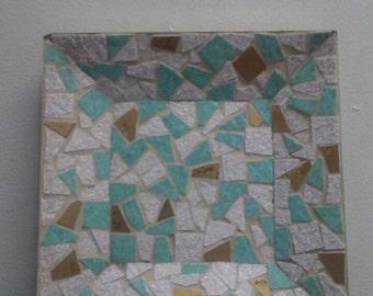 Mid Century Aqua Gold Mosaic Tile Metal Tray