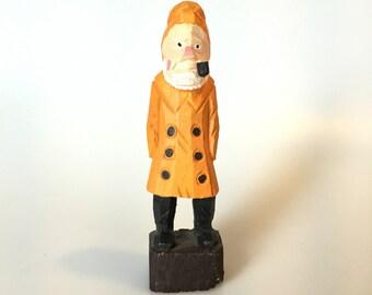 "Vtg Carved Wood Sea Captain Fisherman Figurine Statue 6"" Nautical Folk Art"