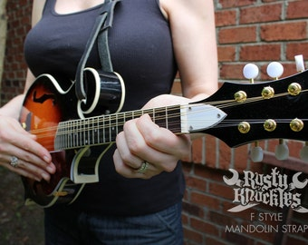 F Style Mandolin Strap, Leather, Built To Last, Made In USA, Mandola, Bluegrass, Americana, Roots, Country, Stringed Instrument