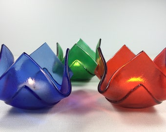 Fused Glass Votive Candle Holders - Set of 3