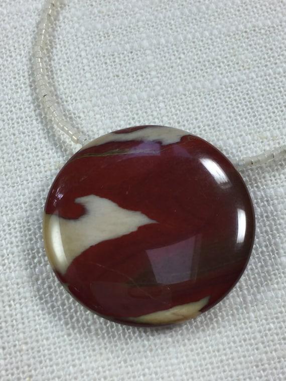 Apple Jasper Pendant - Long Pendant Necklace - Long Beaded Necklace - Natural Stone Pendant