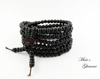 Mala Bracelet, Black Mala, Mala Beads, 108 Mala, Wood Bracelet, Mens Gift, Beaded Bracelet, Valentine day Gift for Men, Buddhist Bracelet
