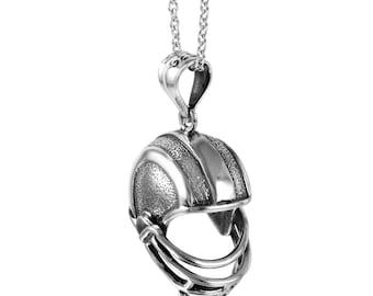3D Helmet Necklace in Sterling Silver