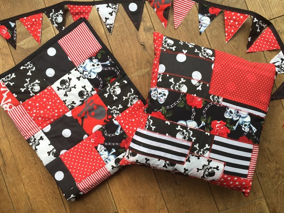 Skulls, Tattoos, Rockabilly Style in Bold Shades of Red, White and Black Handmade Baby Quilt / Blanket / Play Mat - Free Bunting & Pillow