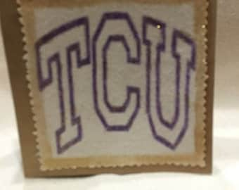 TCU-Go Frogs!  Handmade 5 by  5 greeting cards.  Great for a gift or keep for yourself. You can stand it, hang it, frame it.