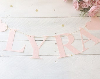 Glitter garland personalized name banner pink glitter letter bunting