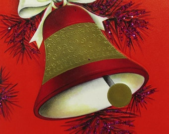 Vintage Hallmark Christmas Card With Beautiful Velvety Red and Gold Bell and Amazing Red Glitter Sparkles that Twinkle So Brightly