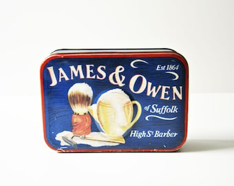 Vintage Silver Crane Tin Box - James & Owen Barber st