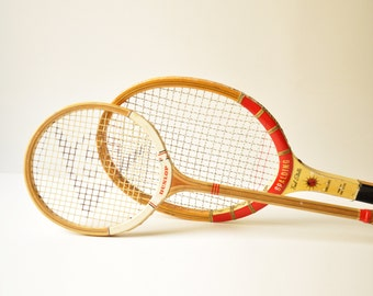 Two Vintage Wooden Tennis Squash Rackets - Dunlop Maxply Fort - Spalding Fred Stolle Challenge