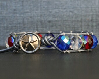 patriotic jewelry - red, white and blue crystal wrap bracelet on silver leather - america patriotic fourth 4th of july jewelry