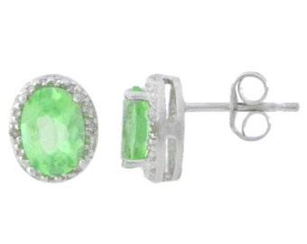 Green Sapphire & Diamond Oval Stud Earrings .925 Sterling Silver