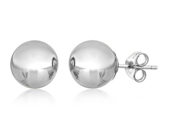 10Kt White Gold Ball Stud Earrings