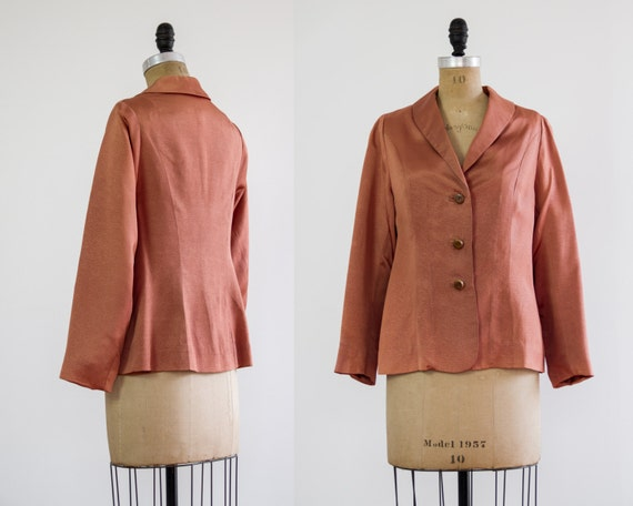 1940s jacket | orange silk blazer | 40s silk jacket