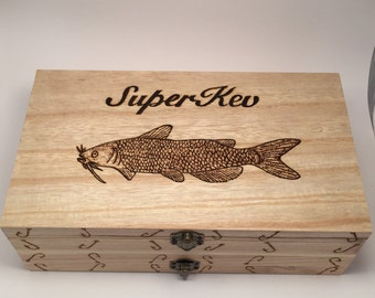 Double Fishing Fly Case/Box Personalised Any Name Any Fish With 8 Free Flies