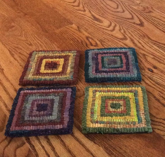 Items Similar To Log Cabin Coasters! Rug Hooked Primitive